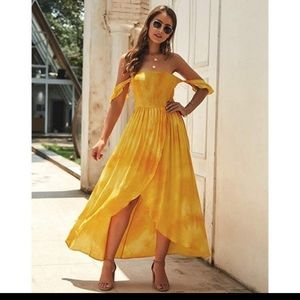 Dresses & Skirts - Golden yellow off the shoulder dress